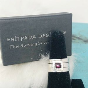 Silpada Sterling Garnet Stack Rings Sz 7 R0949